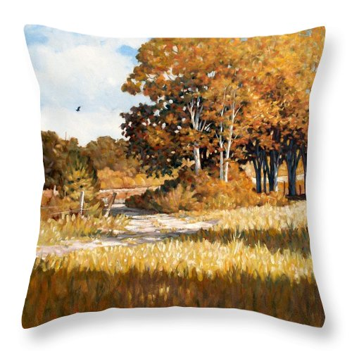 Landscape Throw Pillow featuring the painting Bend In The Road by Kevin Lawrence Leveque