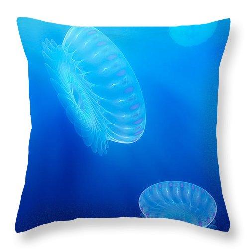 Fractal Throw Pillow featuring the digital art Beneath A Fractal Sea by John Edwards