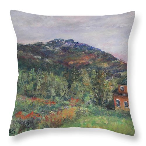 Mt. Throw Pillow featuring the pastel Beneath A Mighty Giant by Alicia Drakiotes