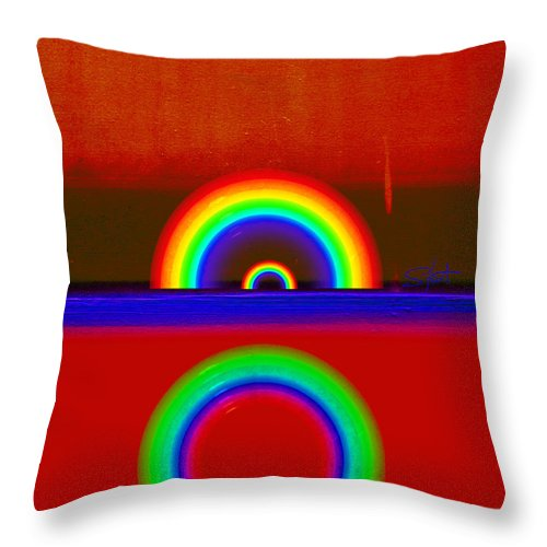 Rainbow Throw Pillow featuring the painting Beneath The Deep Blue Sea by Charles Stuart
