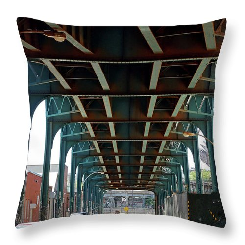 Trains Throw Pillow featuring the photograph Beneath The Elavated by Cate Franklyn