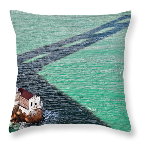 Golden Gate Bridge Throw Pillow featuring the photograph Beneath The Golden Gate by Dave Bowman