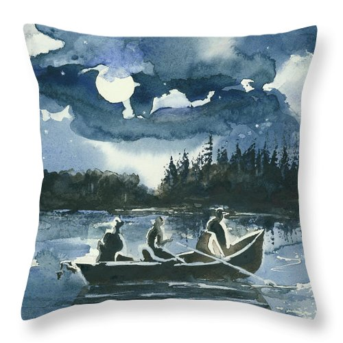Watercolor Throw Pillow featuring the painting Beneath The Stars by Elisabeta Hermann