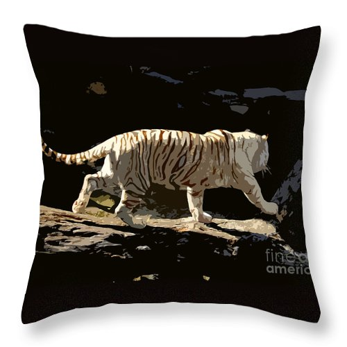 Bengal Tiger Throw Pillow featuring the painting Bengal Tiger by David Lee Thompson