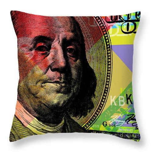 Benjamin Franklin Throw Pillow featuring the digital art Benjamin Franklin - $100 Bill by Jean luc Comperat