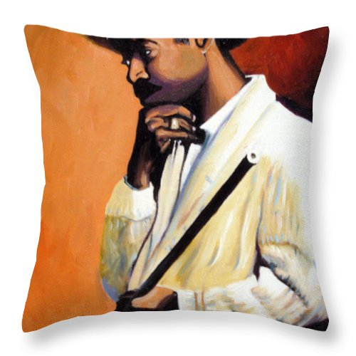 Cuban Art Throw Pillow featuring the painting Benny 2 by Jose Manuel Abraham