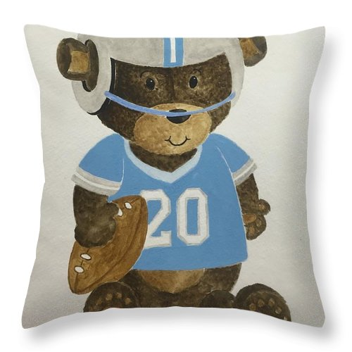 Kids Throw Pillow featuring the painting Benny Bear Football by Tamir Barkan