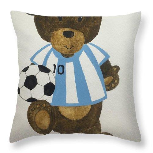 Teddy Bear Throw Pillow featuring the painting Benny Bear Soccer by Tamir Barkan
