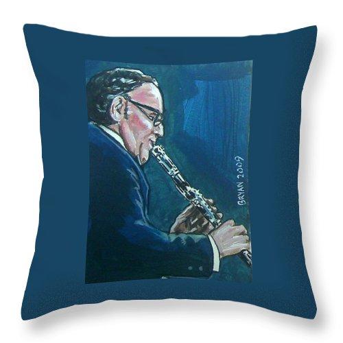 Benny Goodman Throw Pillow featuring the painting Benny Goodman by Bryan Bustard