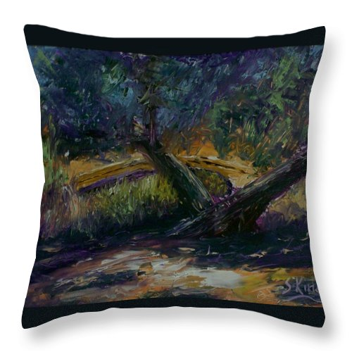 Landscape Throw Pillow featuring the painting Bent Tree by Stephen King