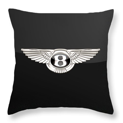 'wheels Of Fortune' By Serge Averbukh Throw Pillow featuring the photograph Bentley - 3 D Badge On Black by Serge Averbukh