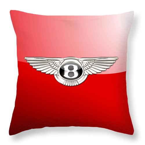 Wheels Of Fortune� Collection By Serge Averbukh Throw Pillow featuring the photograph Bentley 3 D Badge on Red by Serge Averbukh