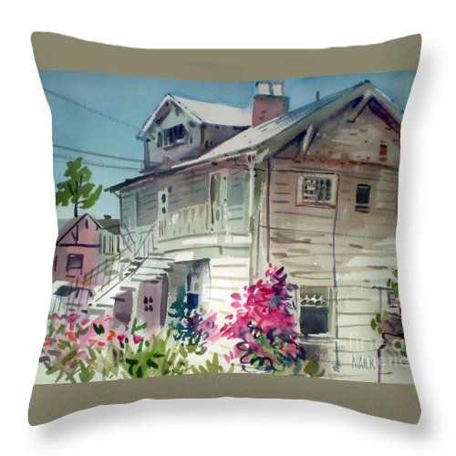 Duplex Throw Pillow featuring the painting Berkeley House by Donald Maier