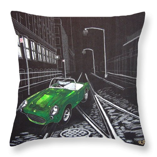 Berkley Throw Pillow featuring the painting Berkley Sports Car by Richard Le Page
