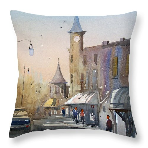 Watercolor Throw Pillow featuring the painting Berlin Clock Tower by Ryan Radke