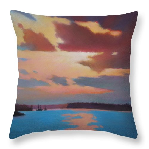 Bermuda Seascape Throw Pillow featuring the painting Bermuda Sunset by Dianne Panarelli Miller