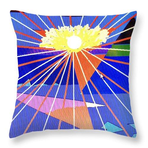 Sunset Throw Pillow featuring the digital art Bermuda Sunset by Ian MacDonald