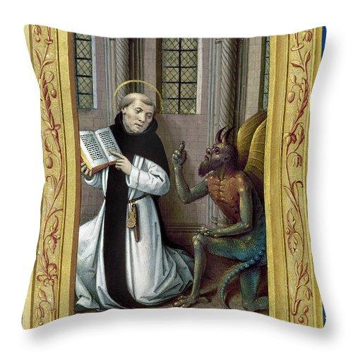 Aod Throw Pillow featuring the painting Bernard De Clairvaux by Granger