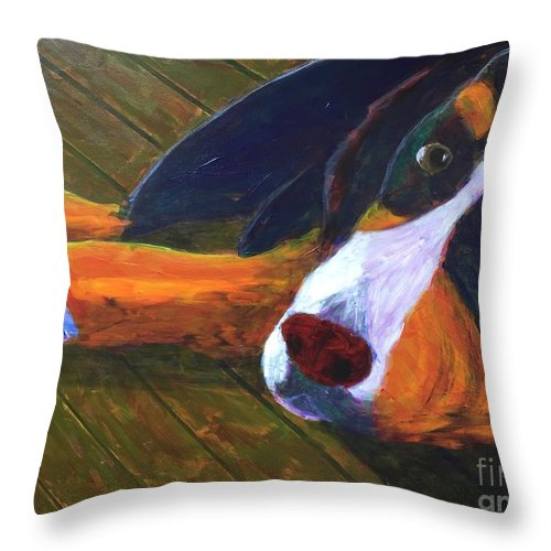 Bernese Mountain Dog Throw Pillow featuring the painting Bernese Mtn Dog On The Deck by Donald J Ryker III