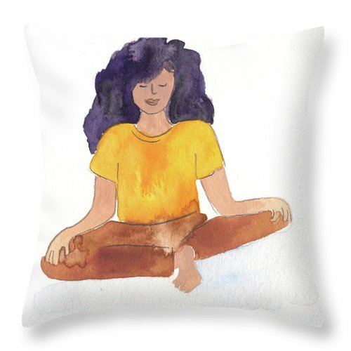 Meditation Throw Pillow featuring the painting Berni Meditating by Claud Brown