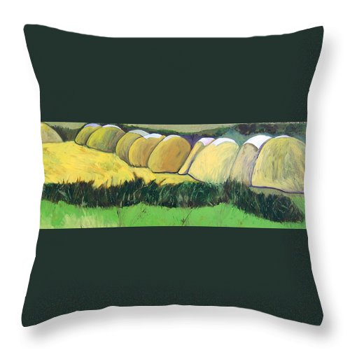 Throw Pillow featuring the painting Bernie Haystacks by Kathleen Barnes