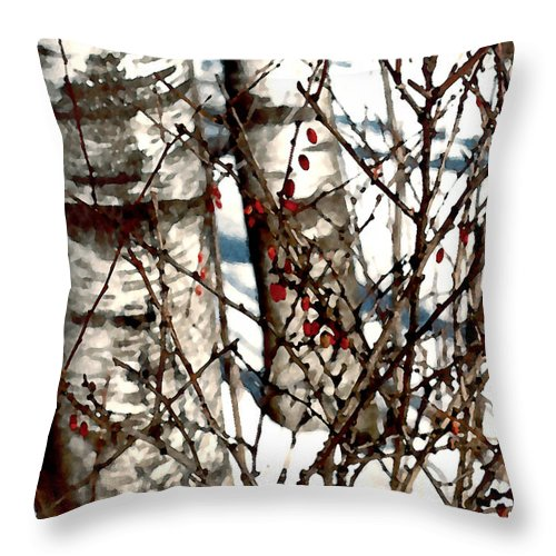 Trees Throw Pillow featuring the painting Berries And Birches by Paul Sachtleben