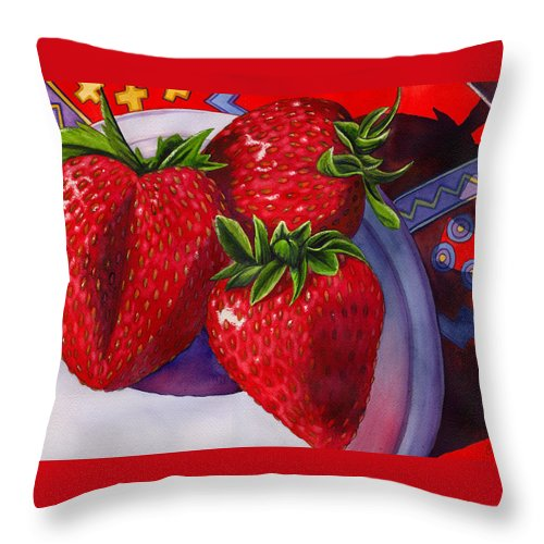 Strawberries Throw Pillow featuring the painting Berry Berry Berry Good by Catherine G McElroy