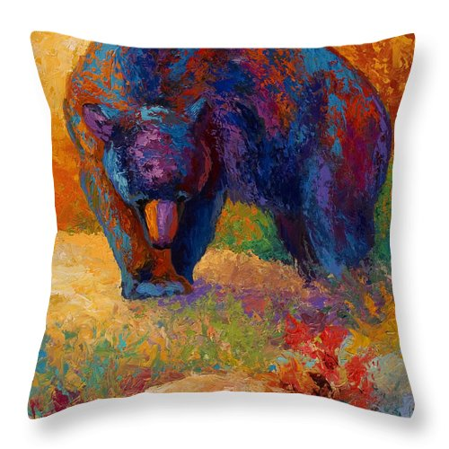 Bear Throw Pillow featuring the painting Berry Hunting by Marion Rose