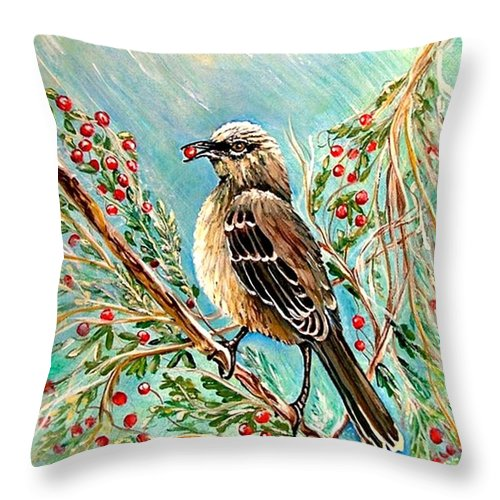Mocking Bird Throw Pillow featuring the painting Berry Picking Time by Carol Allen Anfinsen