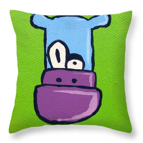 Puppydragon Puppy Dragon Creature Character Portrait Cute Adorable Jera Sky Bemused World Animal Blue Green Purple Eyes Snout Ears Fun Entertaining Cartoon Toon Throw Pillow featuring the painting Bert by Jera Sky