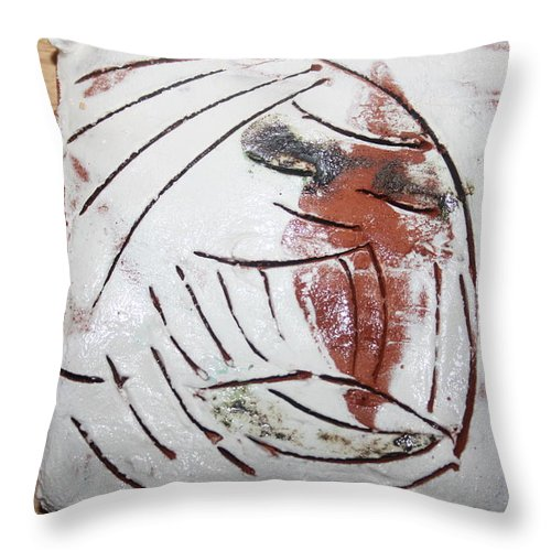 Jesus Throw Pillow featuring the ceramic art Bertha - Tile by Gloria Ssali