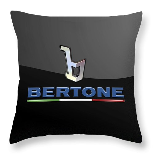 'auto Badges' Collection By Serge Averbukh Throw Pillow featuring the photograph Bertone - 3 D Badge On Black by Serge Averbukh