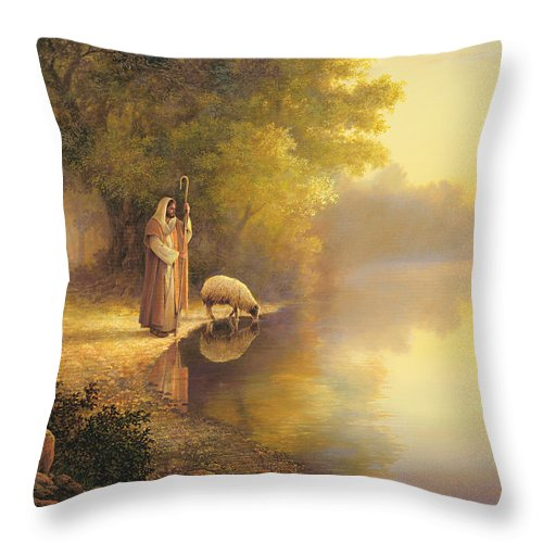 Jesus Throw Pillow featuring the painting Beside Still Waters by Greg Olsen