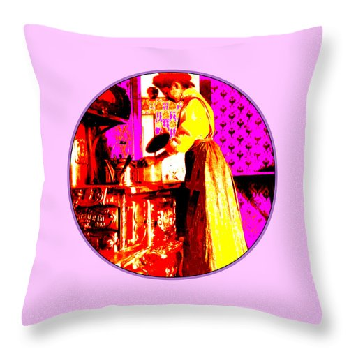 Square Throw Pillow featuring the digital art Bessie Goodell Clark At Her Wehrle Stove by Eikoni Images