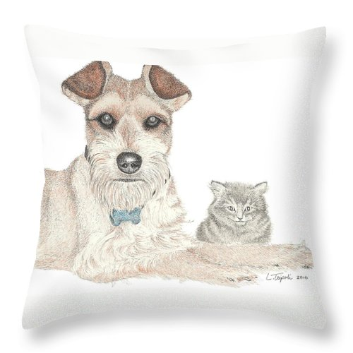 Pet Throw Pillow featuring the drawing Best Buddies by Lawrence Tripoli