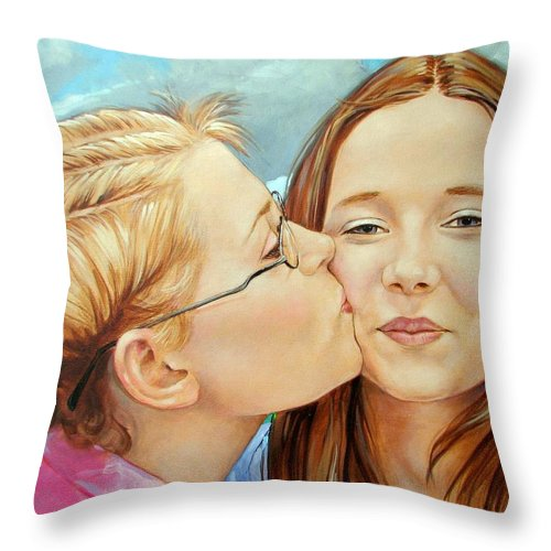 Best Friends Throw Pillow featuring the painting Best Buds by Jerrold Carton