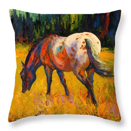 Horses Throw Pillow featuring the painting Best End Of An Appy by Marion Rose