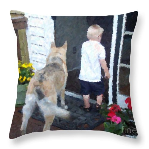Dogs Throw Pillow featuring the photograph Best Friends by Debbi Granruth