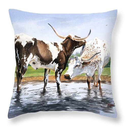 Longhorns Throw Pillow featuring the painting Best Friends by Howard Dubois