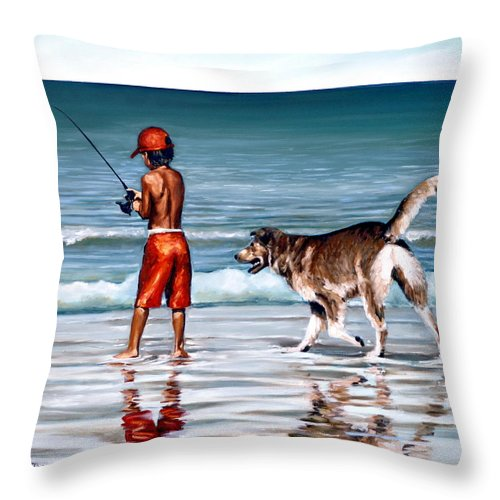 Child Throw Pillow featuring the painting Best Friends II by Natalia Tejera