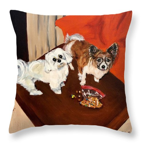 Dogs Throw Pillow featuring the painting Best Friends by Judy Swerlick