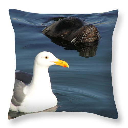 Seagull Throw Pillow featuring the photograph Best Friends by Louise Magno