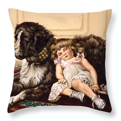 Victorian Throw Pillow featuring the painting Best Friends by Richard De Wolfe