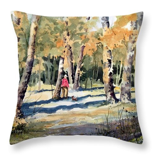 Dog Throw Pillow featuring the painting Walking With A Friend by Sam Sidders