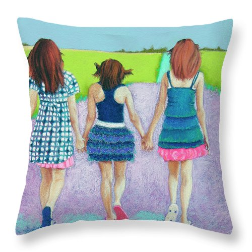 Girl Throw Pillow featuring the pastel Best Friends by Tracy L Teeter