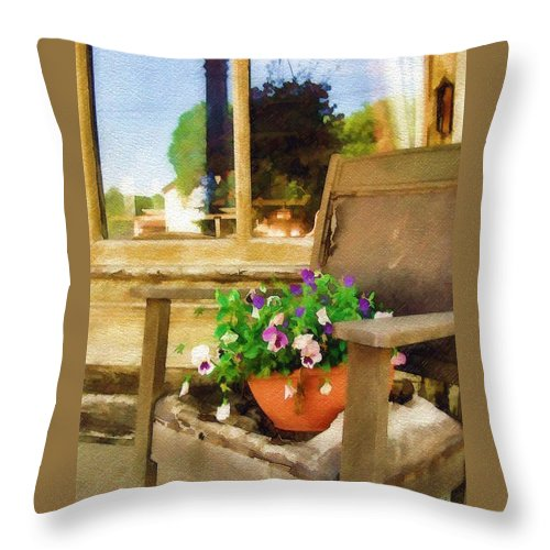 Pansies Throw Pillow featuring the photograph Best Seat In The House by Sandy MacGowan
