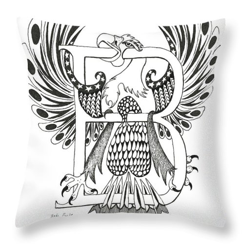 Beta Throw Pillow featuring the drawing Beta Eagle by Melinda Dare Benfield