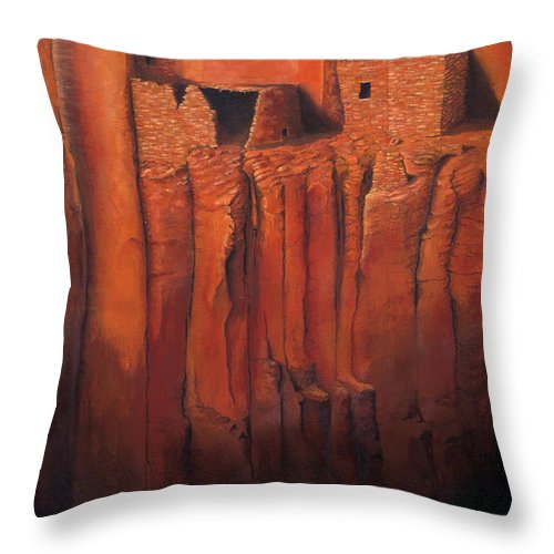 Anasazi Throw Pillow featuring the painting Betatakin Ruins by Jerry McElroy