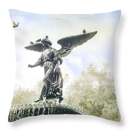 Bethesda Throw Pillow featuring the photograph Bethesda Angel by Stacey Granger