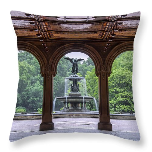 Bethesdafountain Throw Pillow featuring the photograph Bethesda Fountain by Kelly's Eye